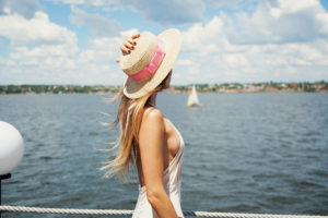 woman looking away on boat
