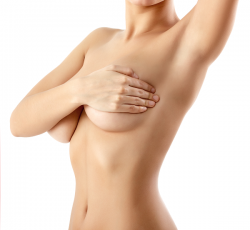 woman nude holding breasts